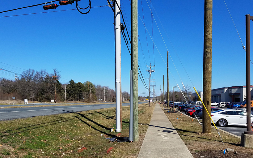 Delmarva Power utility pole relocation along Elkton Road (March 2020)