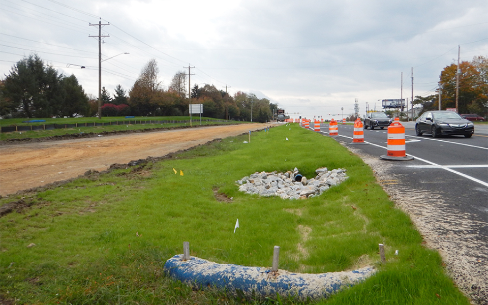 Elkton Rd at Temporary Crossover - Looking South