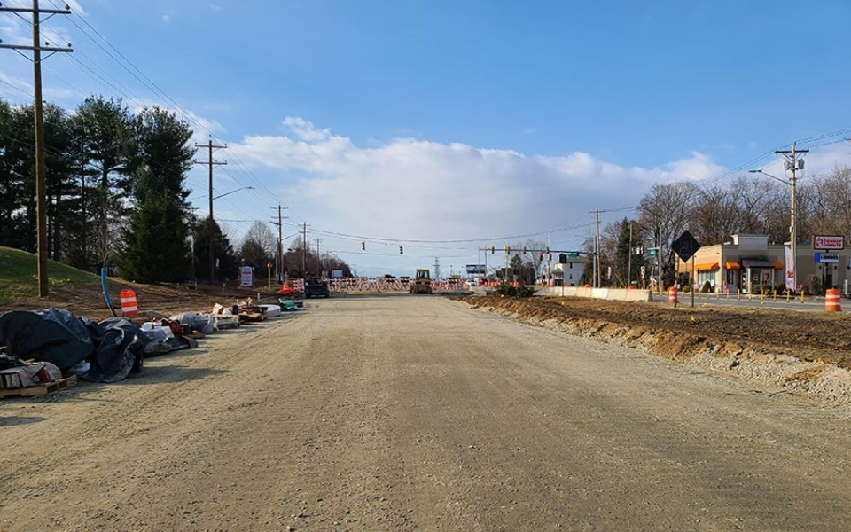 Northbound Elkton Rd – Stone Base installed for Pavement